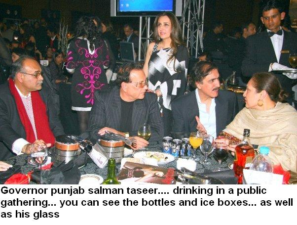 Governor of Punjab and others drinking in a party