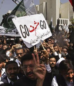 Lawyers chanting slogans against Musharraf