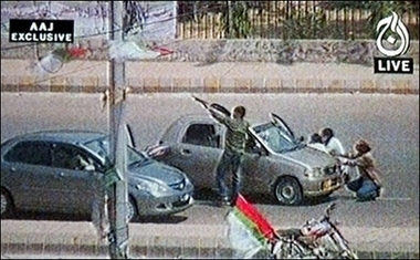 MQM Terroists firing openly on 12 May 2007 in Karachi