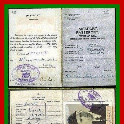 Passport of Mr. Jinnah