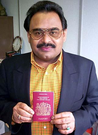 Altaf Hussain showing his British passport