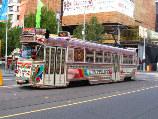 A tram in Melbourne designed like Karachi bus (Commonwealth Games 2006)